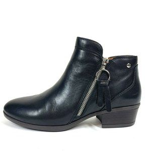 Pikolinos Daroca Black Low Heel Leather Booties